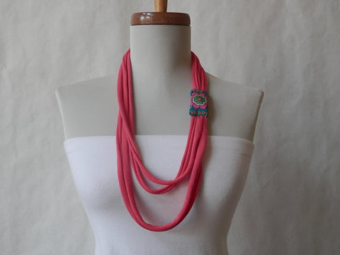 Coral Pink Tube Scarf/Necklace/Headband/Bracelet In Organic Cotton by Maya's Ideas