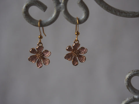 Brass Daisy with Enamel Charm Earrings