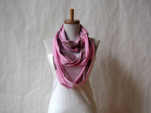 Pink Python Cotton Voile Infinity Scarf by Maya's Ideas