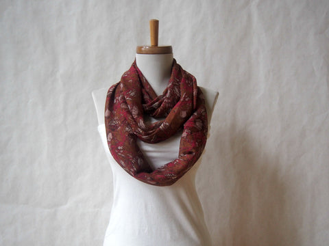 Raspberry and Chocolate Floral Infinity Scarf by Maya's Ideas