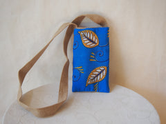 Eco Friendly Golden Leaf Organic Burlap Mini Cross Body Bag by Maya's Ideas
