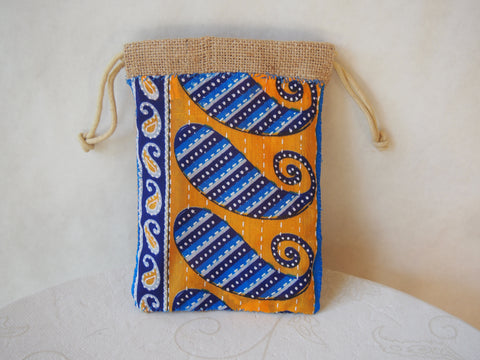 Blue Paisley Organic Burlap Wristlet Mini-Purse by Maya's Ideas