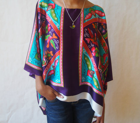 Hummingbird Forest Eco-friendly Recycled Silk Poncho