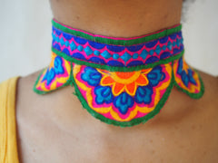 """Kaleidoscope Petals"" Embroidered Necklace"