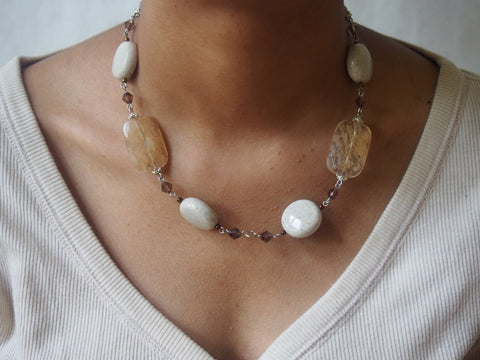 Quartz and Glass Necklace