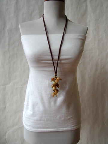 Jasper Gemstone Necklace With Kumihimo Fringe Cord by Maya's Ideas