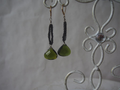 Deep Peridot and Brass Chain Earrings
