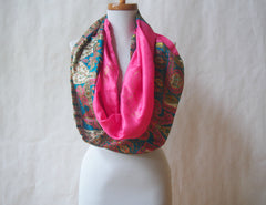 Paisley Palace Artist Signature Silk Infinity Scarf by Maya's Ideas (Choose from Pink or Turquoise)