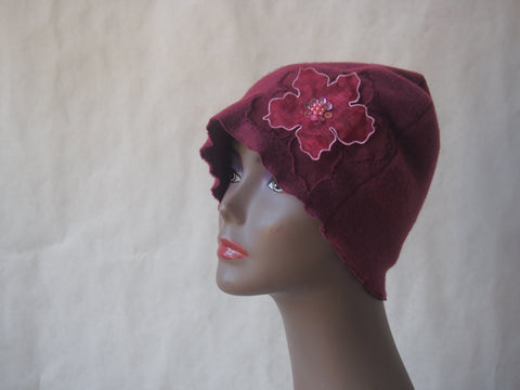 Burgundy Blossoms Cloche Hat by Maya's Ideas