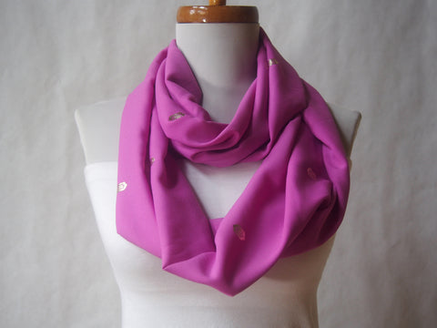 Golden Raindrops Rose Pink Infinity Scarf by Maya's Ideas