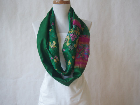 Emerald Isle Raw Silk Infinity Scarf by Maya's Ideas