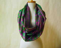 Emerald and Magenta Silk Infinity Scarf by Maya's Ideas