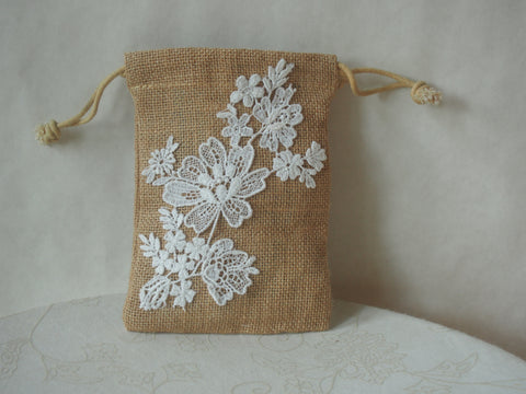 Baby's Breath Organic Burlap Wristlet/Mini-Purse by Maya's Ideas
