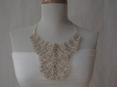 Ivory Mist Mesh Beaded Necklace