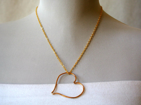 Golden Heart Floating Necklace by Maya's Ideas