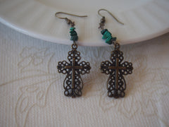 Green Jasper Filigree Cross Earrings by Maya's Ideas
