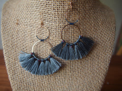 Garnet Gemstone Organic Cotton Fringe Earrings