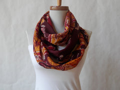Maroon and Burgundy Batik Infinity Scarf by Maya's Ideas