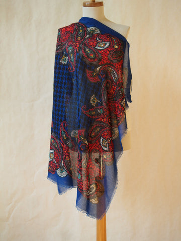 Lotus Blossom on Royal Blue Scarf/Shawl