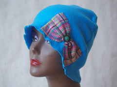 Plaid Turquoise Organic Fleece Cloche by Maya's Ideas