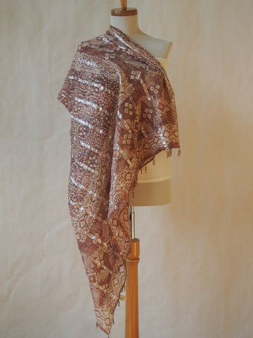 Sand and Ivory Batik Print Cotton Scarf/Shawl