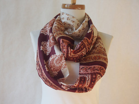 Maroon and Ivory floral Paisley Silk Infinity Scarf by Maya's Ideas