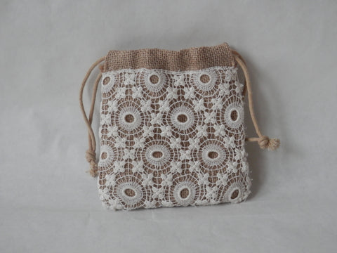 Organic Burlap and Vintage Ivory Lace Wristlet/Mini-Purse by Maya's Ideas