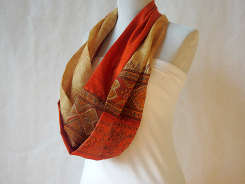 East Meets West Gold and Orange Silk Infinity Scarf by Maya's Ideas