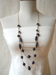 Vintage Geometric Bead and Brass Necklace