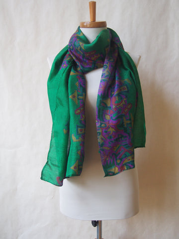 Green Geometry Eco Friendly Scarf/Shawl with Amethyst Gemstone Accents