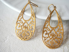 Vintage Brass Lotus Earrings