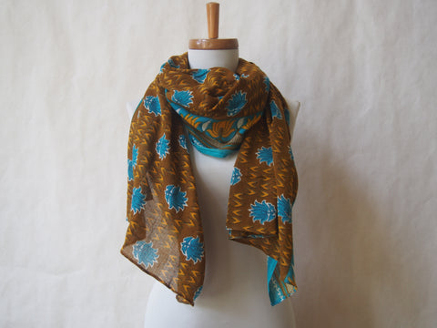 Blue Lotus Eco Friendly Scarf/Shawl with Gemstone Accents