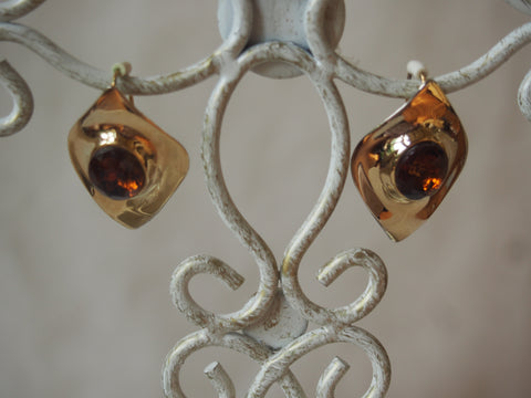 Vintage Brass and Amber Earrings