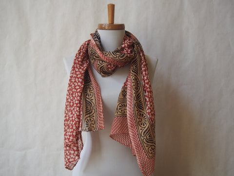 Cinnamon Pepper Swirl Eco Friendly Scarf/Shawl with Tiger's Eye Gemstone Accents