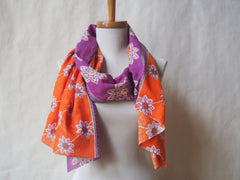 Sunset Meadow Eco Friendly Scarf/Shawl with Amethyst Gemstone Accents