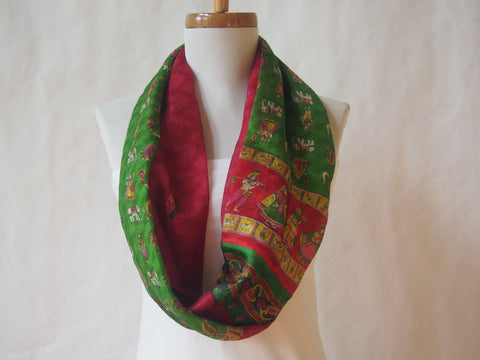 Parade Green and Red Silk Infinity Scarf by Maya's Ideas