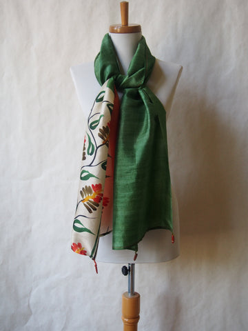 Water Garden Eco Friendly Scarf/Shawl with Red Jasper Gemstones