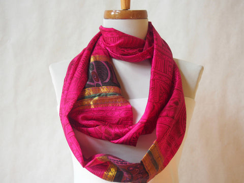 Fushia Art Deco Silk Infinity Scarf by Maya's Ideas