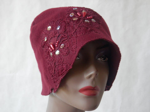 Burgundy Bliss Fleece Cloche hat by Maya's Ideas