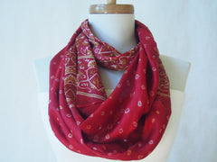 Scarlet and Gold Silk Infinity Scarf by Maya's Ideas