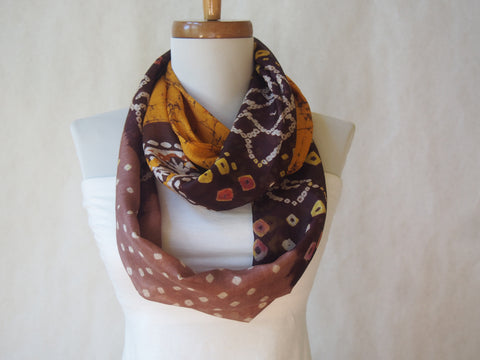 Gold and Brown Earth Tones Silk Infinity Scarf by Maya's Ideas