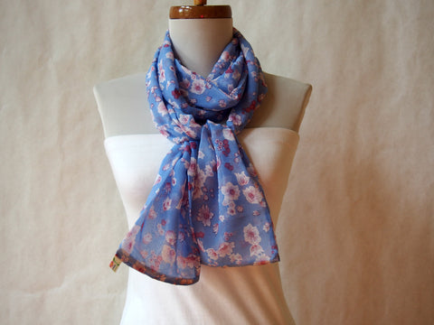Cherry Blossoms In a Blue Sky Long Scarf by Maya's Ideas