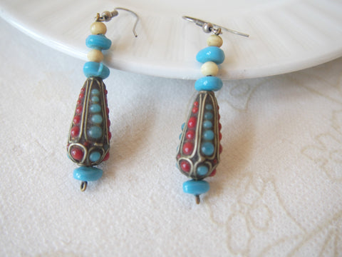 Nepalese-Style Vintage Glass Earrings