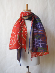 Russet Dusk Eco Friendly Scarf/Shawl with Red Jasper and Lapis Gemstones