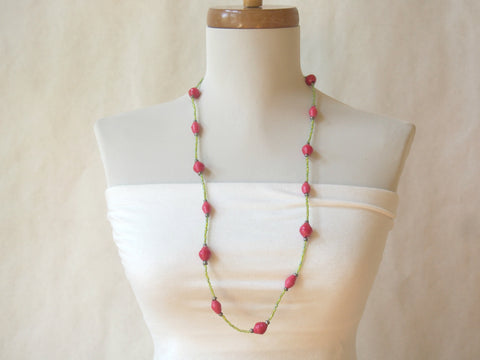 Eco Friendly Recycled Paper and Glass Bead Necklace (Berries on the Vine)