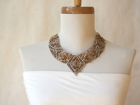 Eco Friendly Taupe Beaded and Embroidered Fabric Necklace