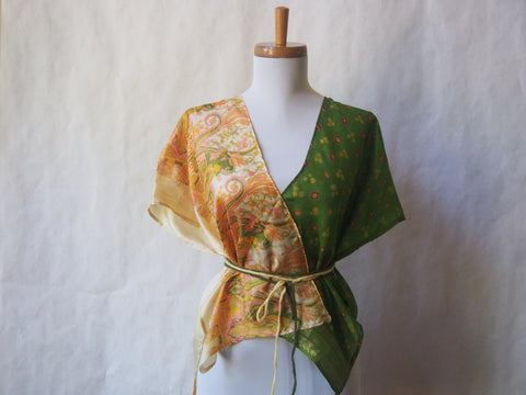 Limited Edition Eco Wrap Blouse in S/M     (Buttercup Yellow/Leaf Green)