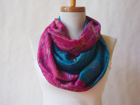 Fuschia and Turquoise Blue Silk Kimono Print Infinity Scarf by Maya's Ideas