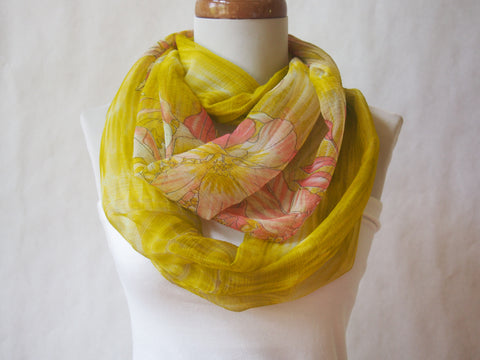 Mangoes and Melons Chartreuse and Coral Silk Chiffon Infinity Scarf by Maya's Ideas