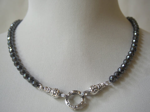 Hematite or Smoky Quartz and Sterling Necklaces